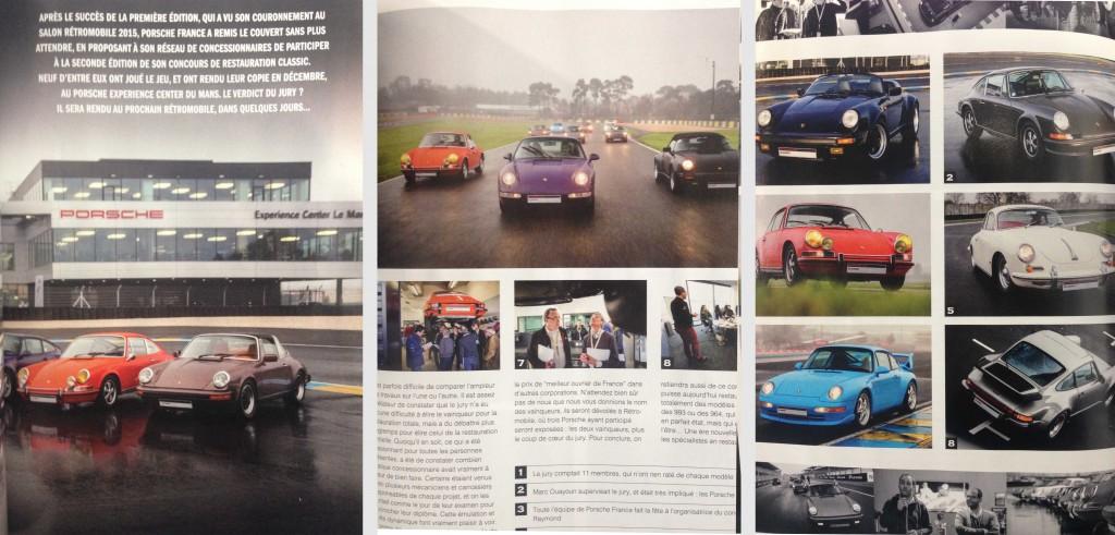 Parution de la Porsche 2,0S 1969 à injection dans le Flat6 Magazine de Février 2016 (concours Porsche Classic 2015)